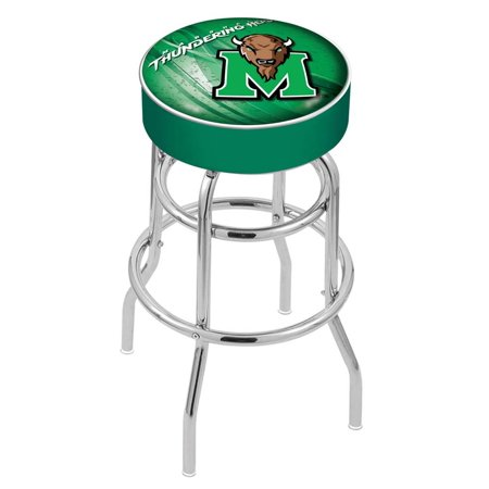 Wildcats Double Rung Vinyl - Marshall 25 Inch L7C1 Cushion Seat With Double Rung Chrome Base Bar Stool