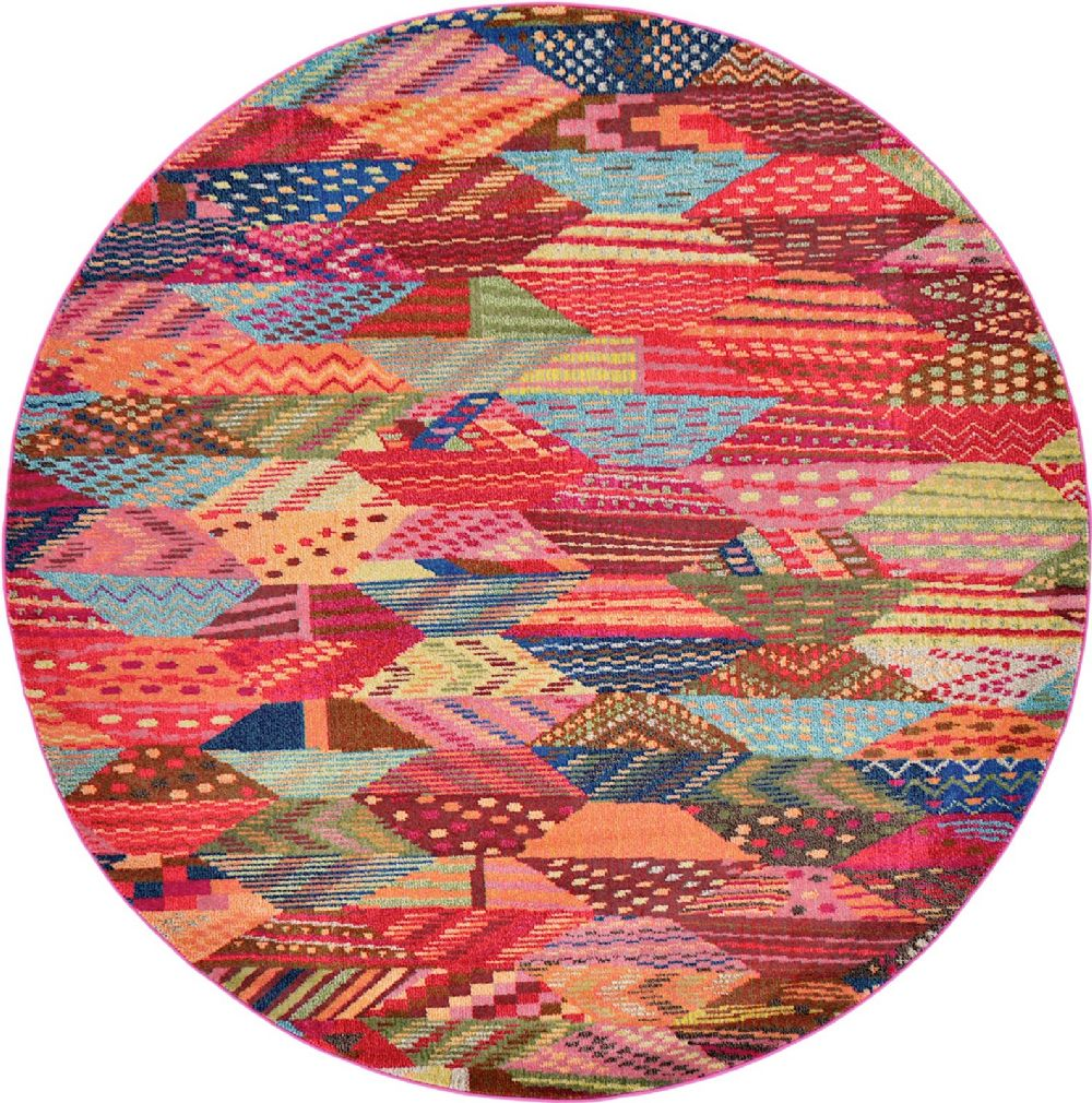 Round Or Rectangular Area Rug: Contemporary Sierra Collection Area Rug In Rainbow Color