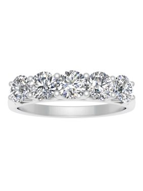Certified 1.00 Carat TW Diamond Five Stone Wedding Band in 14k White Gold (G-H Color, I2-I3 Clarity)