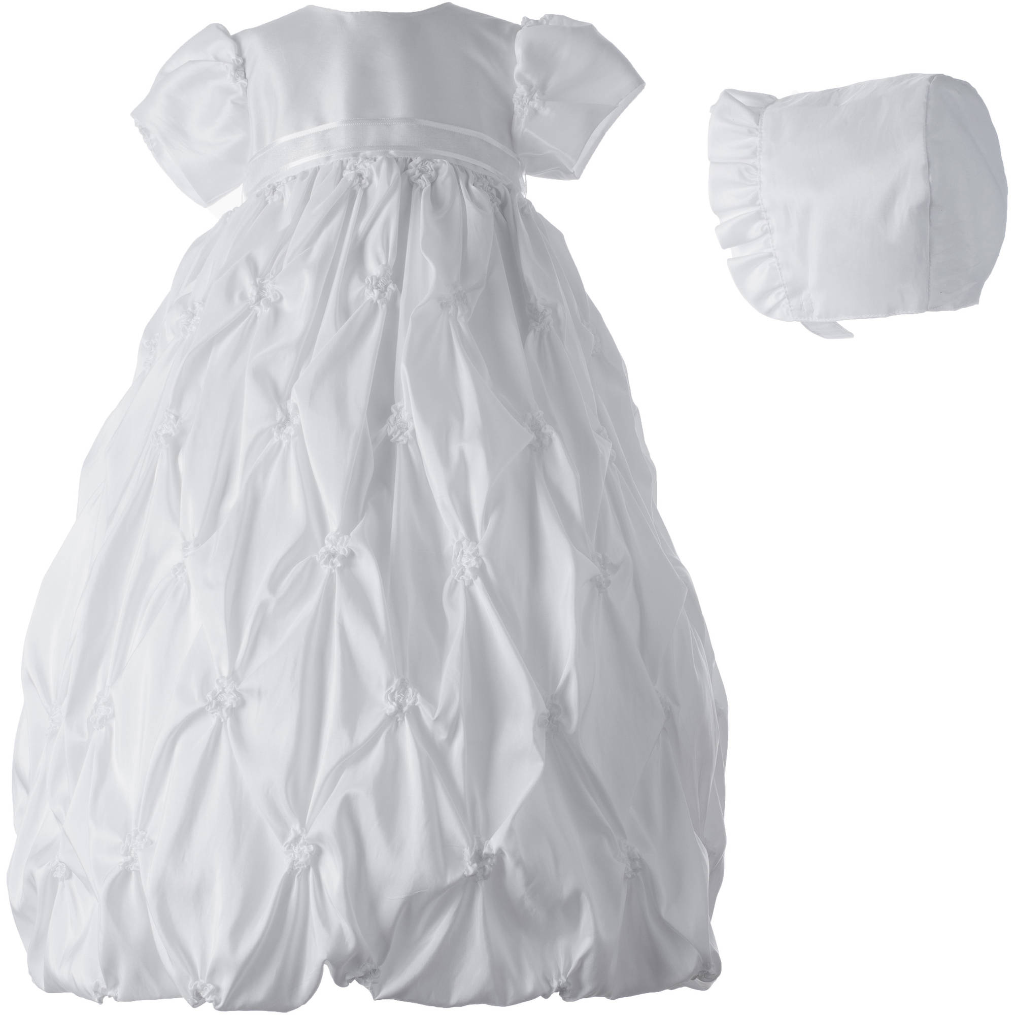 Christening Baptism Newborn Baby Girl Special Occasion Taffeta Long Dress With Allover Puckered Embroidery