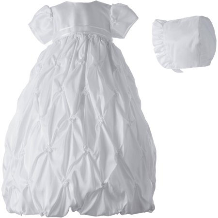 Christening Baptism Newborn Baby Girl Special Occasion Taffeta Long Dress w/ Allover Puckered Embroidery