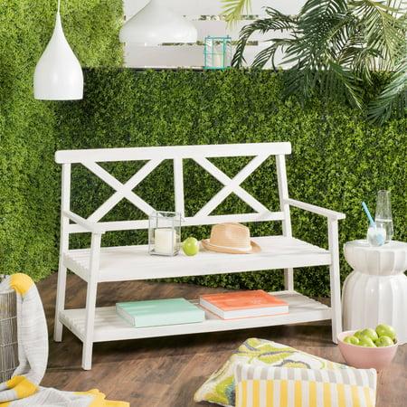 Safavieh Mayer Indoor/Outdoor 2 Seat Bench with Lower Tier ()