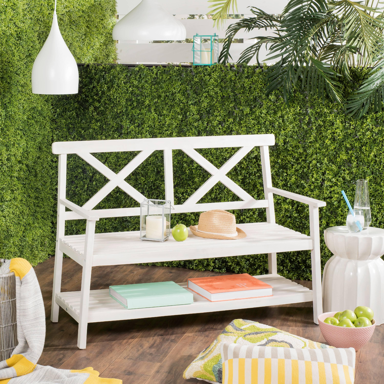 Safavieh Mayer Indoor/Outdoor 2 Seat Bench with Lower Tier