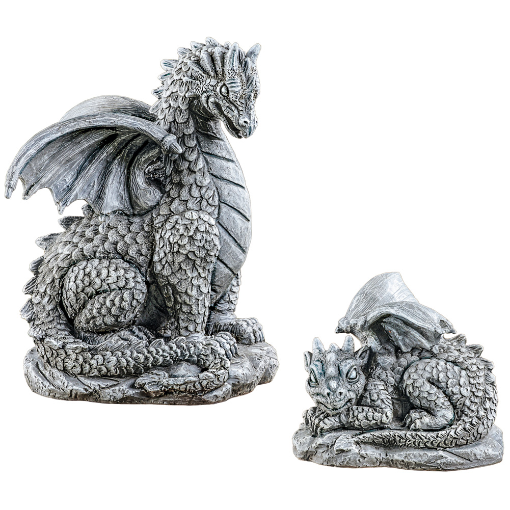 Collections Etc. Mother and Baby Dragons Statue Set, Outdoor Garden Décor or Indoor, 2 pc