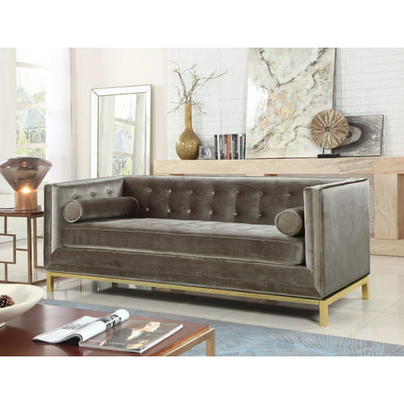 Chic Home Evie Club Sofa Sleek Elegant Tufted Velvet Plush Cushion Brass Finished Stainless Steel Brushed Metal Frame Couch, Modern Contemporary, Taupe