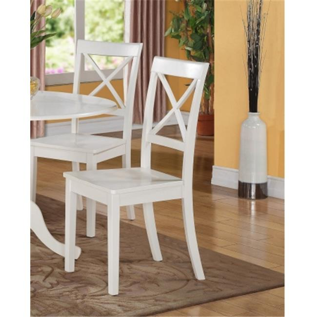 East West Furniture BOC-WHI-W Boston Dining Chair with Wood Seat in White Finish Pack of 2