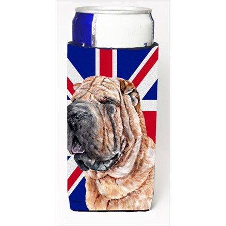 Carolines Treasures SC9892MUK Shar Pei With English Union Jack British Flag Michelob Ultra bottle sleeves For Slim Cans - 12 Oz. - image 1 de 1