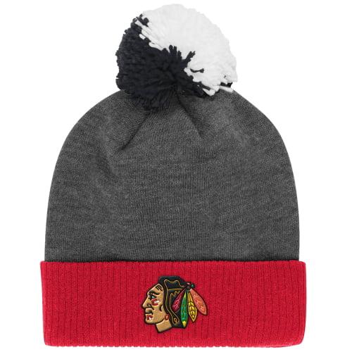 Chicago Blackhawks Reebok Face-Off Heathered Gray Cuffed Knit Hat - Heather Gray - OSFA
