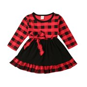 Toddler Kid Baby Girls Plaid Long Sleeve Party Christmas Tutu Dress Costume