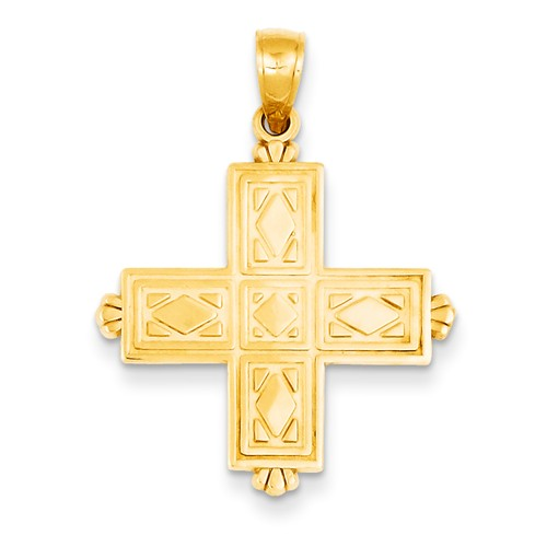 14k Yellow Gold Reversible Etched Square Cross with Crown Tips Pendant