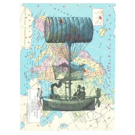 Art N Wordz Steampunk Balloon Original Atlas Page Pop Art Print Poster
