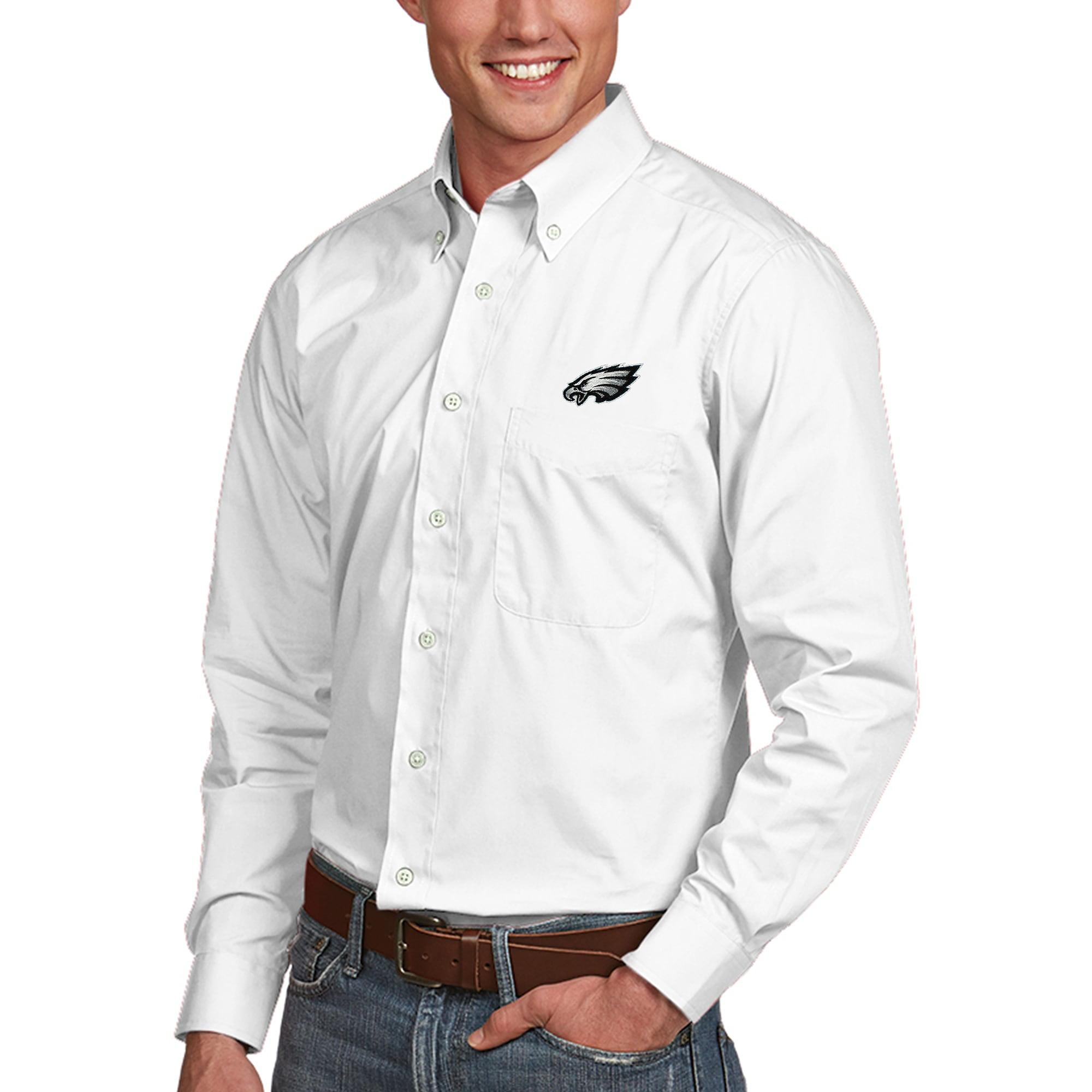 Philadelphia Eagles Antigua Dynasty Woven Button Down Shirt White Walmart Com Walmart Com