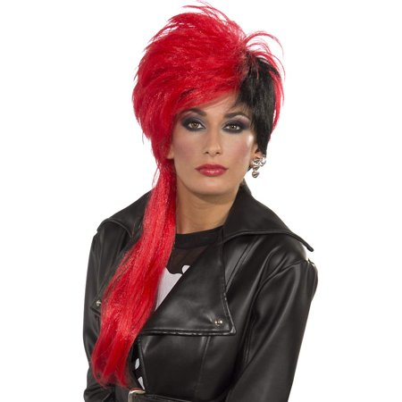 Womens  Gothic Emo Trouble Maker Costume Red Black Side Part Wig