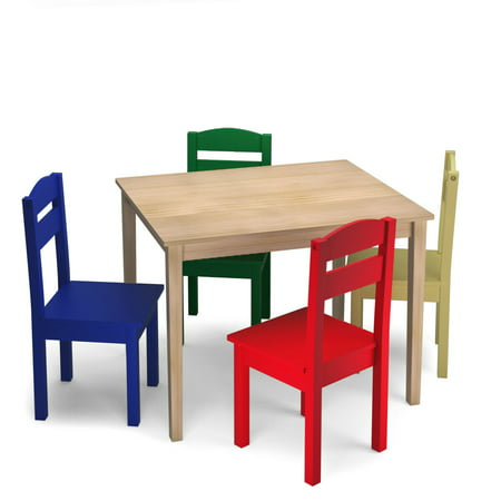 Kids Room Furniture Set (Costway Kids 5 Piece Table Chair Set Pine Wood Multicolor Children Play Room Furniture)