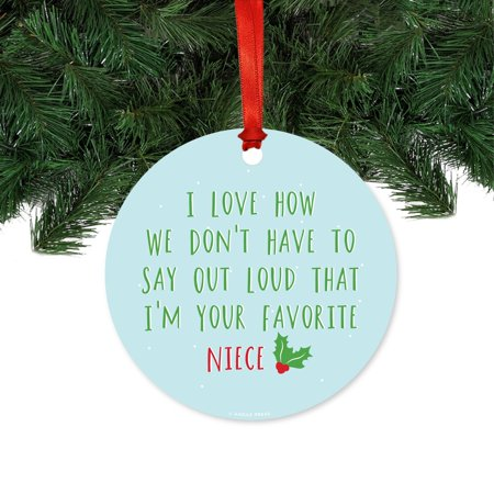 Funny Round Metal Christmas Ornaments Favorite Niece Includes Ribbon And Gift Bag
