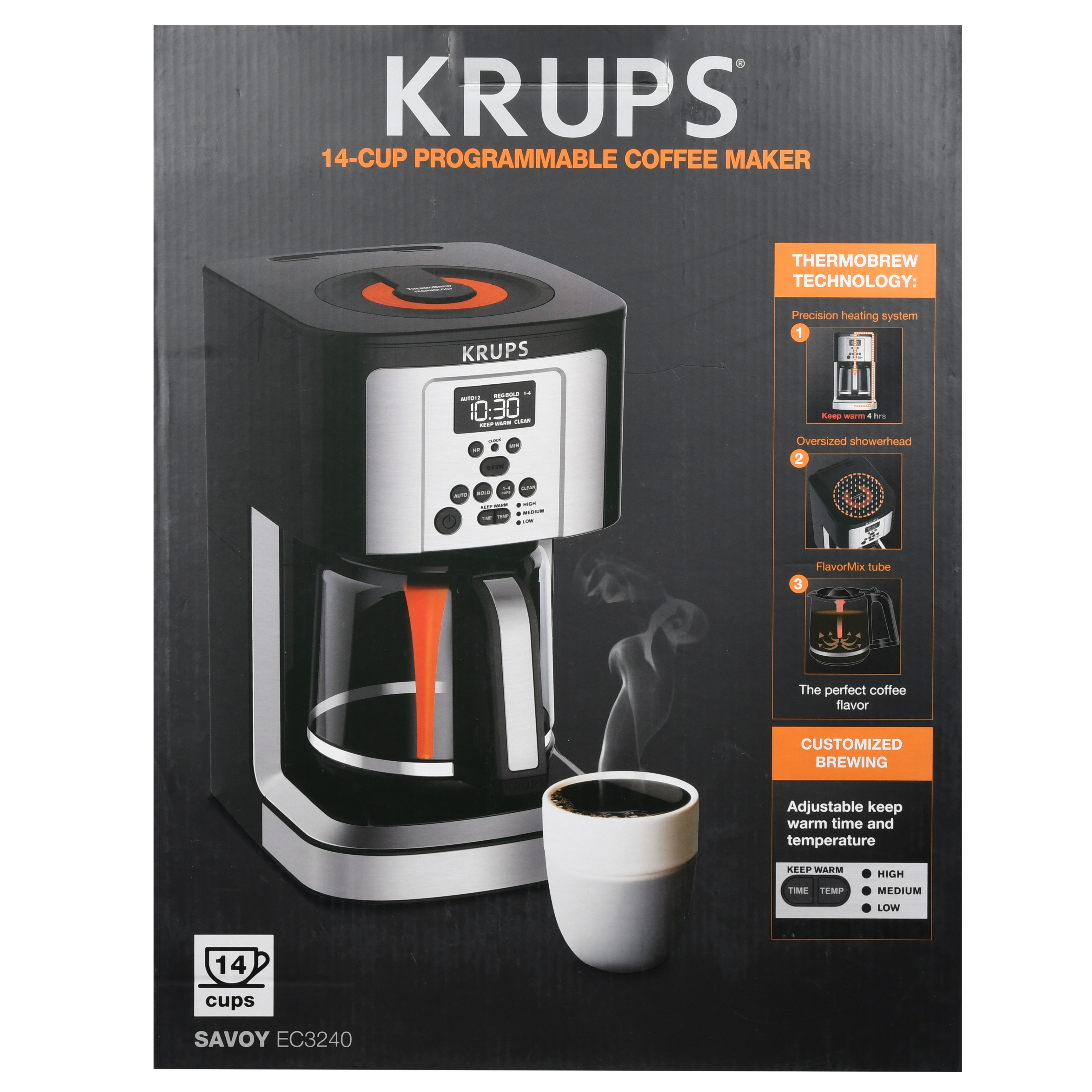 KRUPS EC324 14-CUP THERMOBREW PROGRAMMABLE COFFEE MAKER with large 14-cup capacity, ThermoBrew technology, Dual Auto-Start, Adjustable Keep Warm