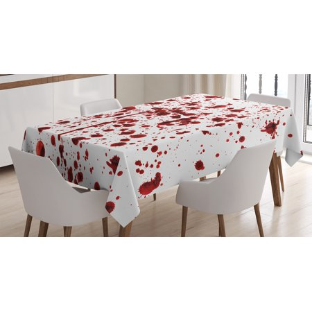 Tablecloth, Splashes of Blood Grunge Style Bloodstain Horror Scary Zombie Halloween Themed Print, Rectangular Table Cover for Dining Room Kitchen, 60 X 84 Inches, Red White, by Ambesonne](Pics Of Zombies For Halloween)
