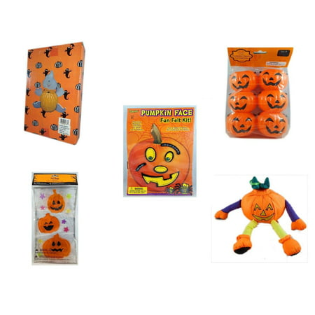Halloween Fun Gift Bundle [5 Piece] -  Ghost Pumpkin Push In 5 Piece Head Arms Legs - Party Favors Pumpkin Candy Containers 6 Count - Darice Pumpkin Face Fun Felt Kit - Stitches - Gel Clings Pumpkin
