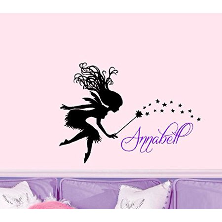Decal ~Fairy with Custom (NAME) Children's Wall Decor ~ Two colors 20