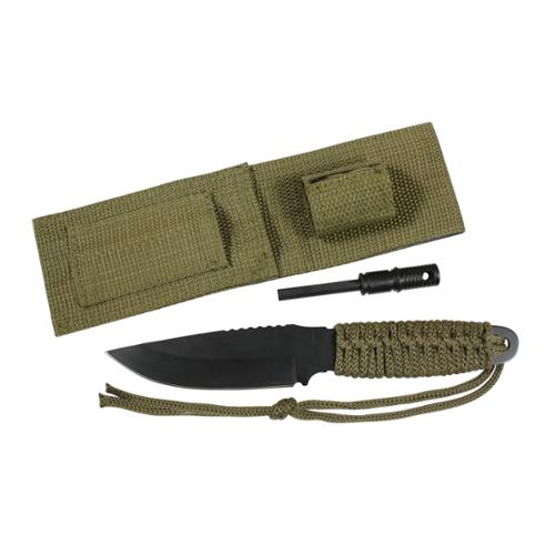 Rothco Paracord Camping Survival Knife With Fire Starter and Sheath, Olive Drab