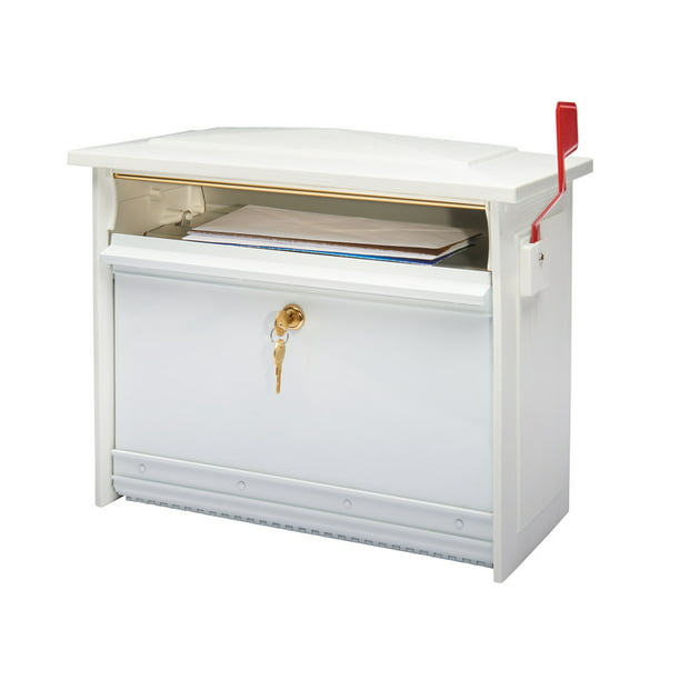 Gibraltar Mailboxes Mailsafe Medium, Aluminum, Locking, Wall-Mount Mailbox, White, MSK0000W