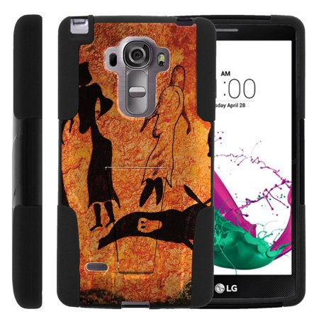 Lg G Vista 2 H740 Strike Impact Dual Layer Shock Absorbing Case With Built In Kickstand   Cave Drawings
