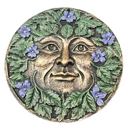 (Bronzed Spring Blossom Periwinkle Flowers Celtic Greenman Pan Wall Hanging Decor Plaque As Home Decorative Sculpture Housewarming Gift)