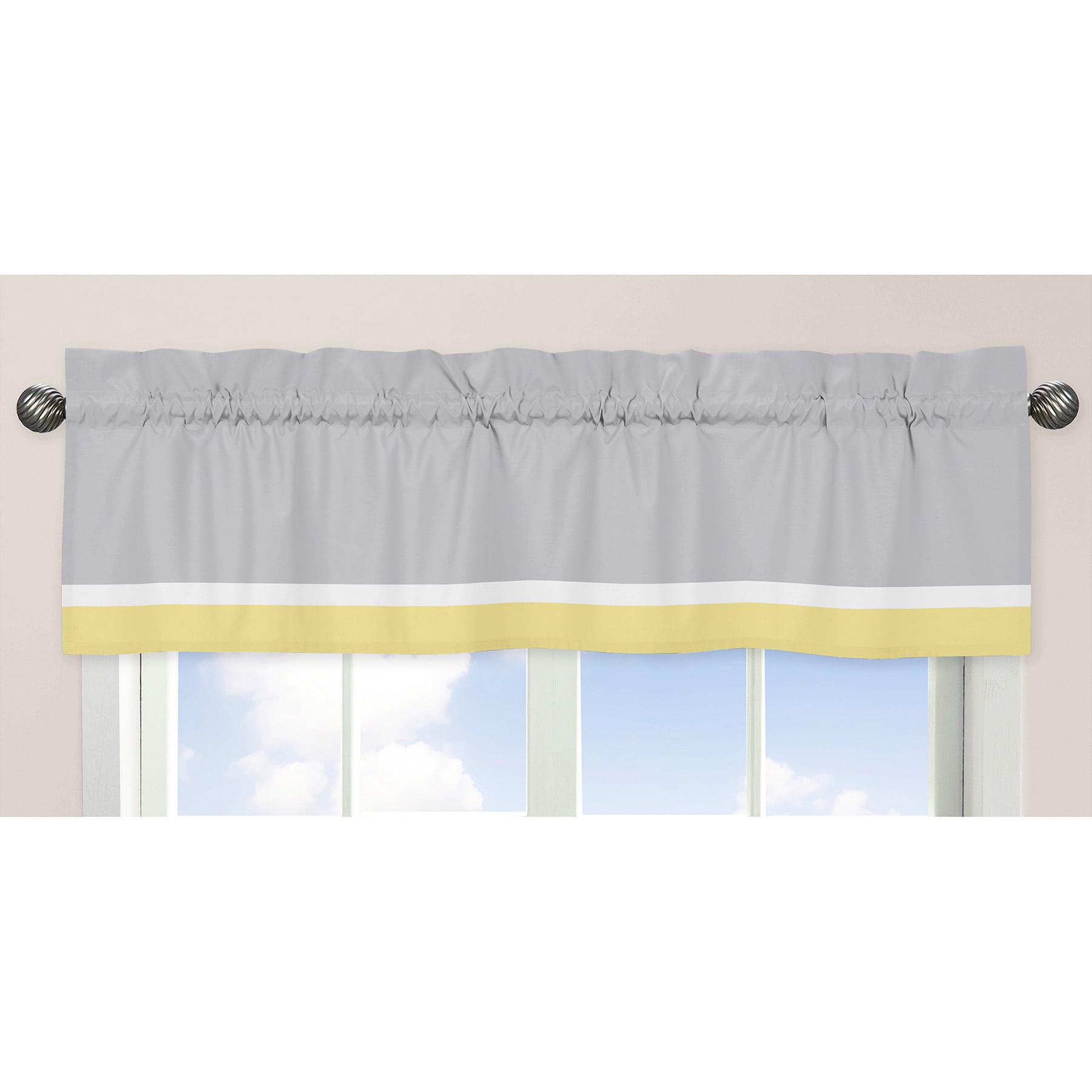 Sweet Jojo Designs Gray Yellow And White 54 Inch X 15 Inch Window Treatment Curtain Valance For Mod Garden Walmart Com Walmart Com