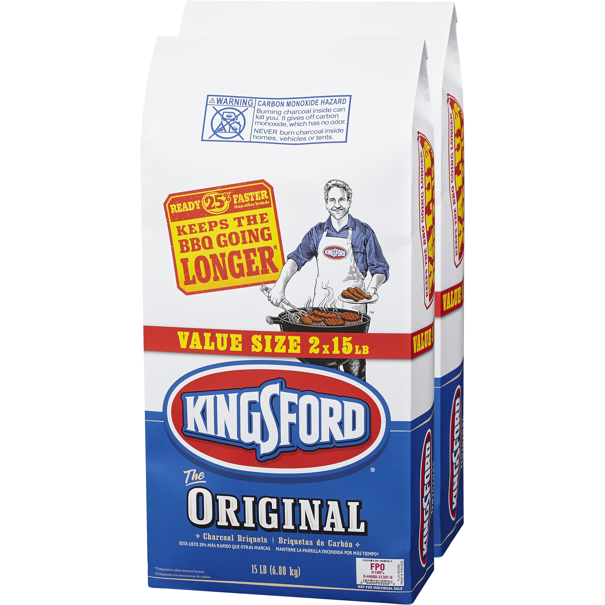 Kingsford Original Charcoal Briquets, 15 lbs, 2 ct