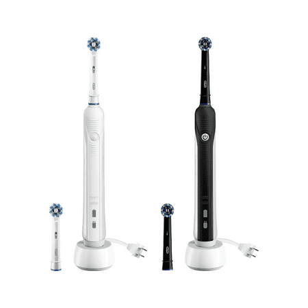 Oral-B Pro 1000 ($15 Rebate and 2 Bonus Refills) CrossAction Electric Toothbrush with 4 Brush Heads in Total, Powered by Braun, Black and White, Pack of 2