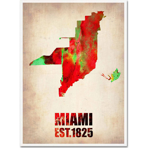 "Trademark Fine Art ""Miami Watercolor Map"" Canvas Art by Naxart"