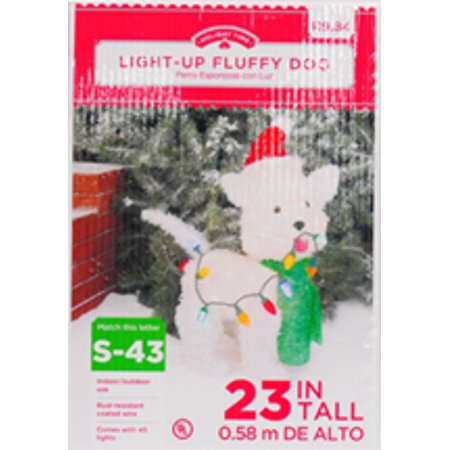 holiday time christmas decor 24 fluffy dog light sculpture - Holiday Time Christmas Decorations