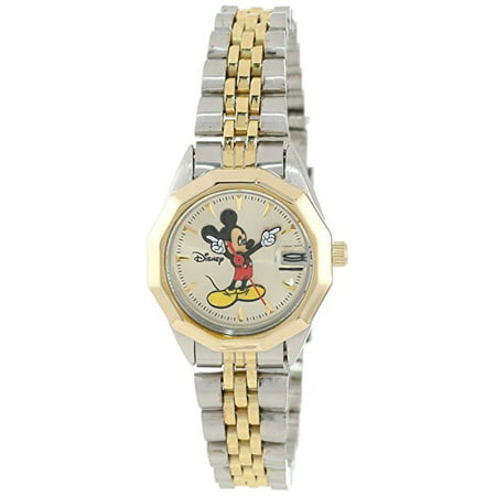 Mickey Mouse Women's MCK342 Classic 'Moving Hands' Two-Tone Bracelet Watch Disney Classic Watch