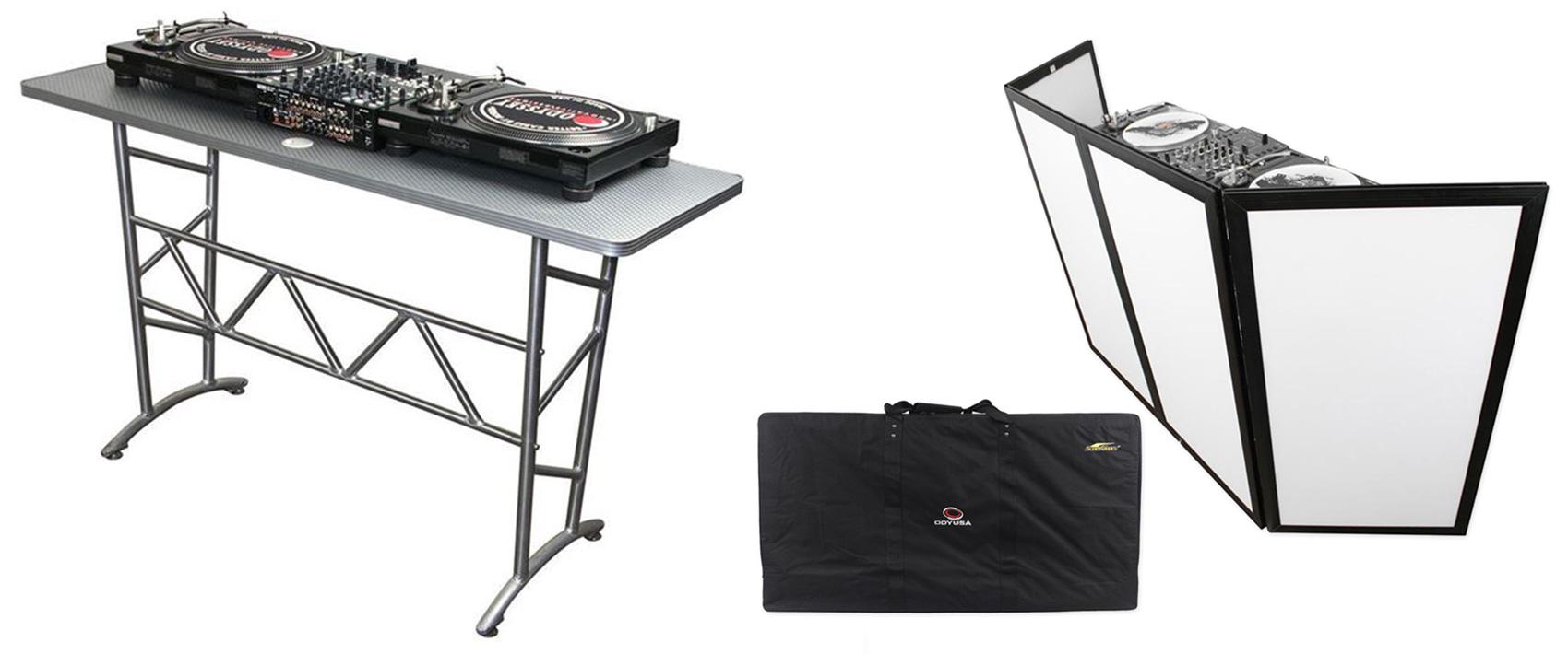 Odyssey ATT DJ Table + Scrim Werks SWF4846B Faade Barrier by Odyssey