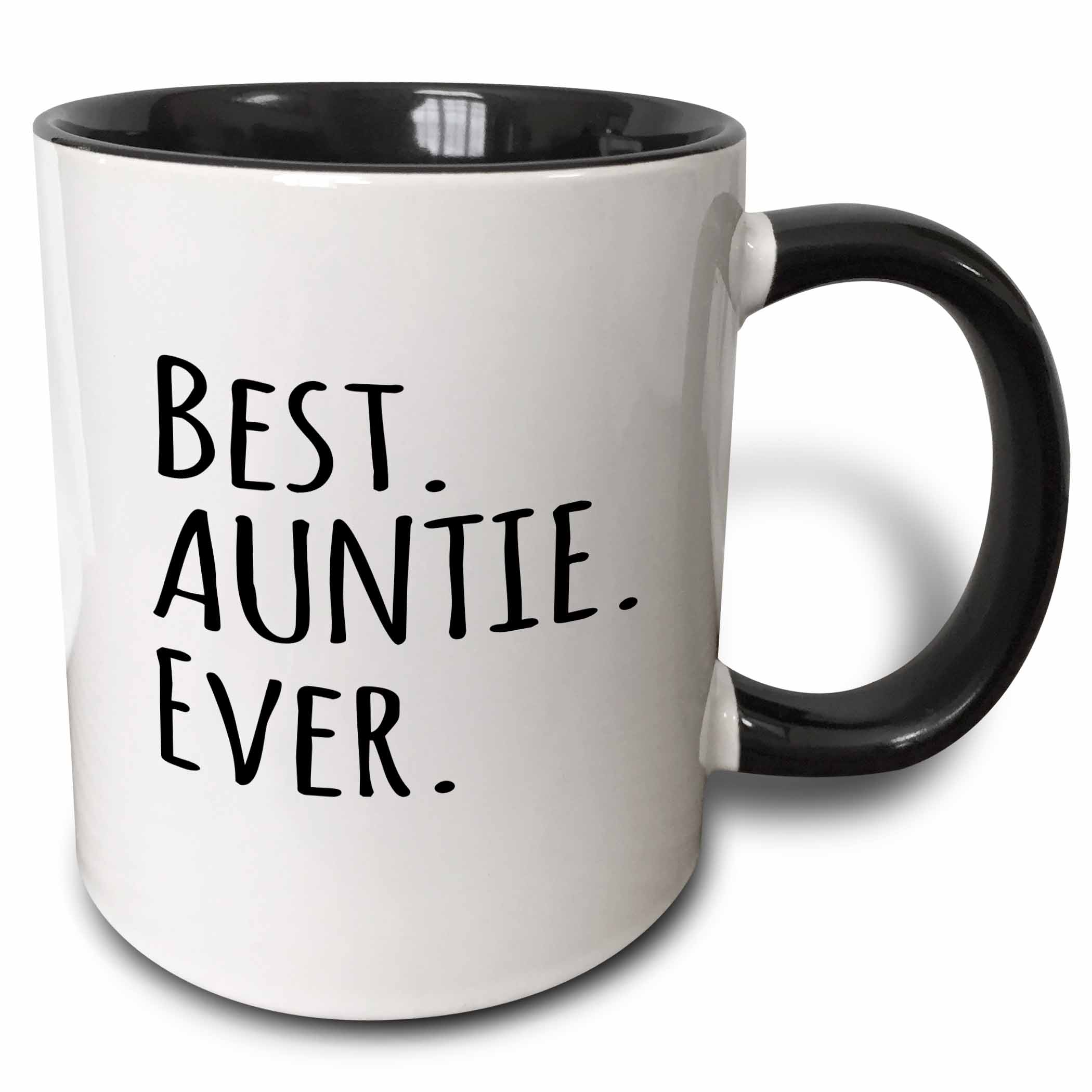 3dRose Best Auntie Ever Family gifts for relatives and honorary Aunts and Great Aunts black text, Two Tone... by 3dRose