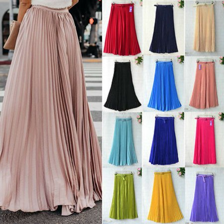 Women Retro Chiffon Pleated Long Maxi Skirt Elastic High Waist Band Casual