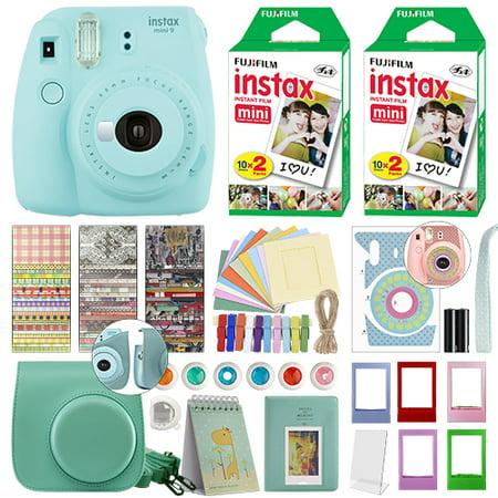 Fujifilm Instax Mini 9 Instant Film Camera Ice Blue + 40 Film Deluxe
