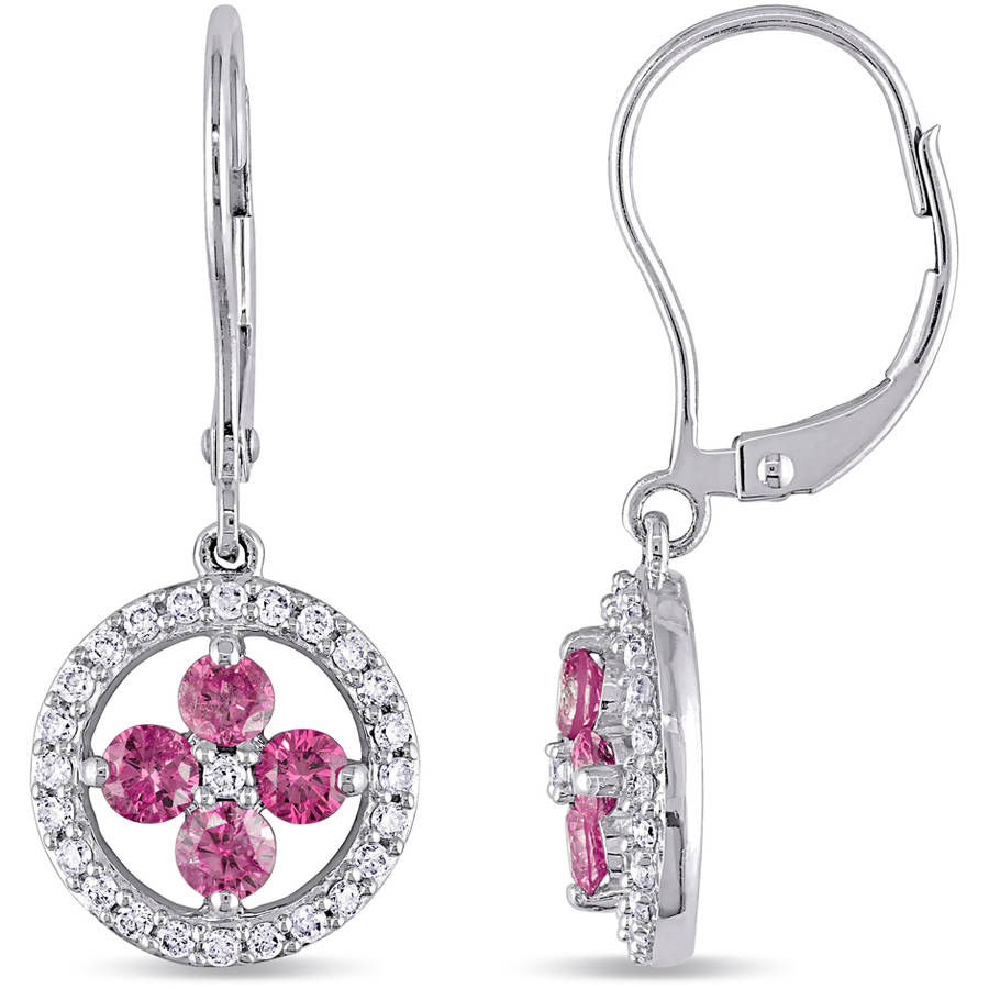 1 Carat T.W. Pink and White Diamond 14kt White Gold Cross Design Leverback Earrings by Generic