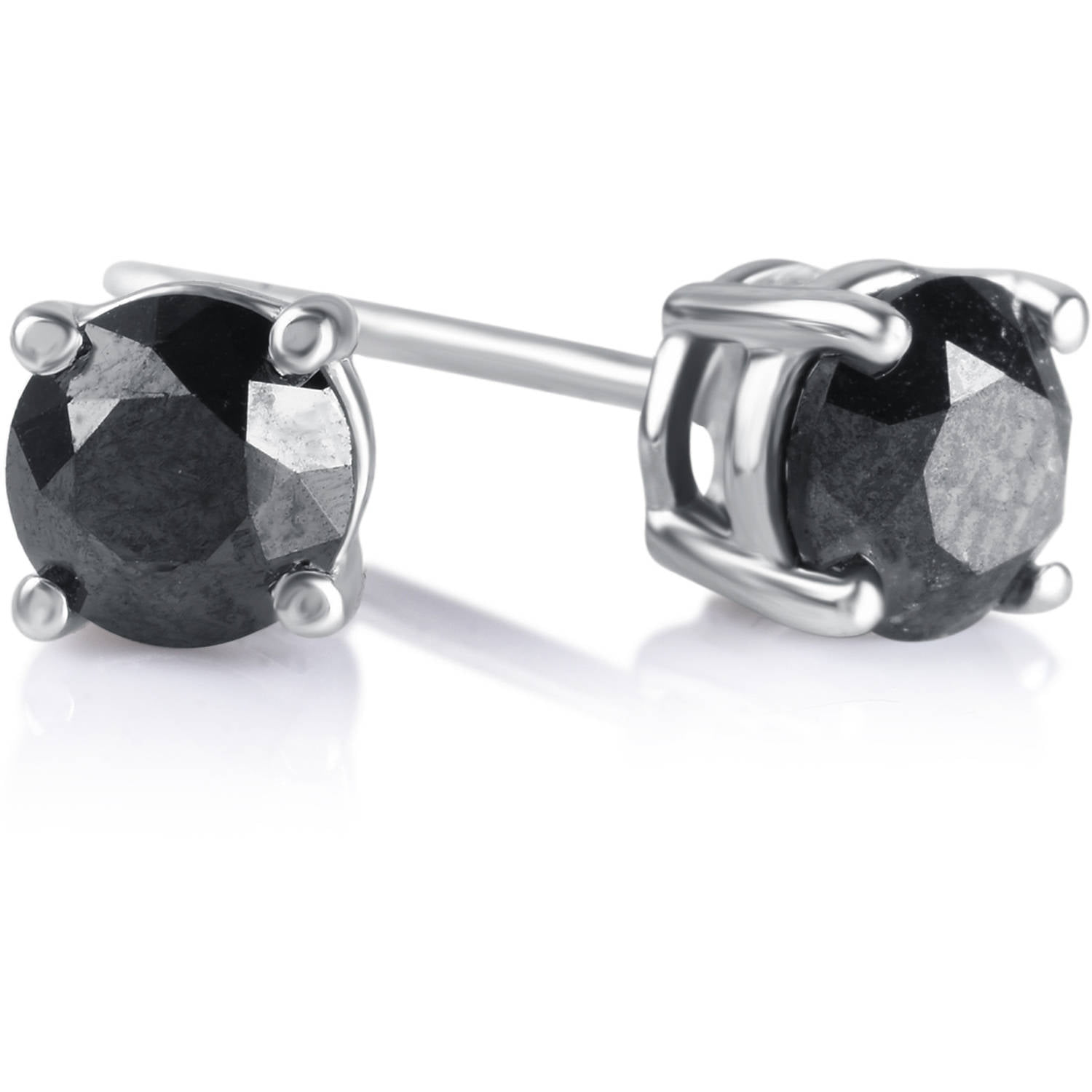 iParis 1 Carat T W Round Black Diamond Sterling Silver Stud