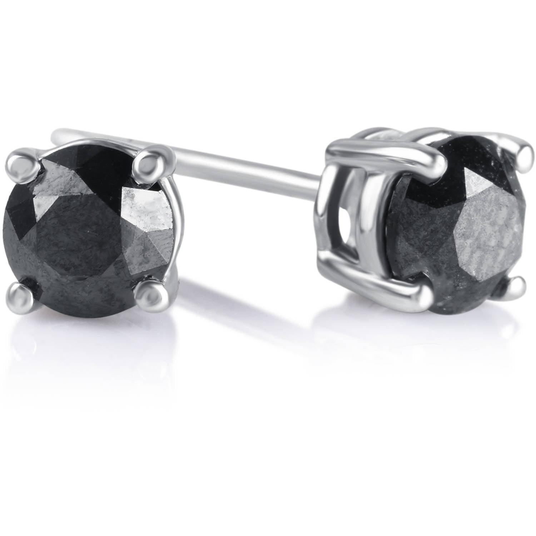 1 Carat T.W. Round Black Diamond Sterling Silver Stud Earrings