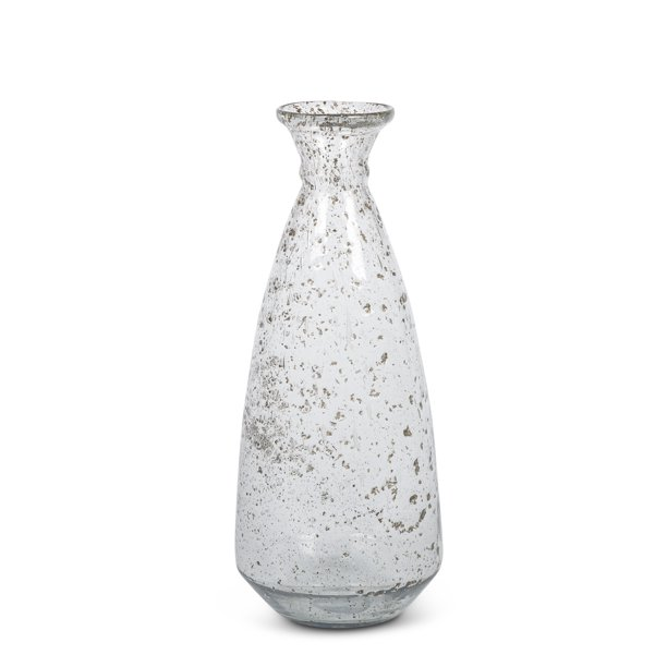 """Gerson 17"""" Tall Recycled Glass Vase; Clear and Spotted"""