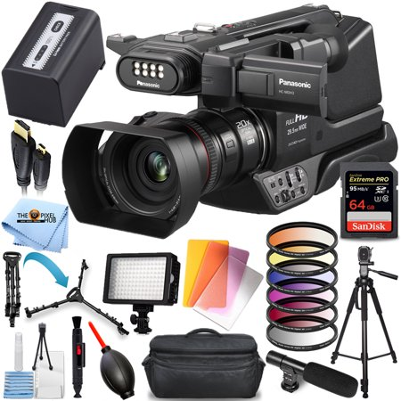 Panasonic HC-MDH3 AVCHD Shoulder Mount Camcorder with LCD Touchscreen & LED Light Pro Bundle with 64GB SD, Microphone, LED Light, Gadget Bag, Tripod and Much More