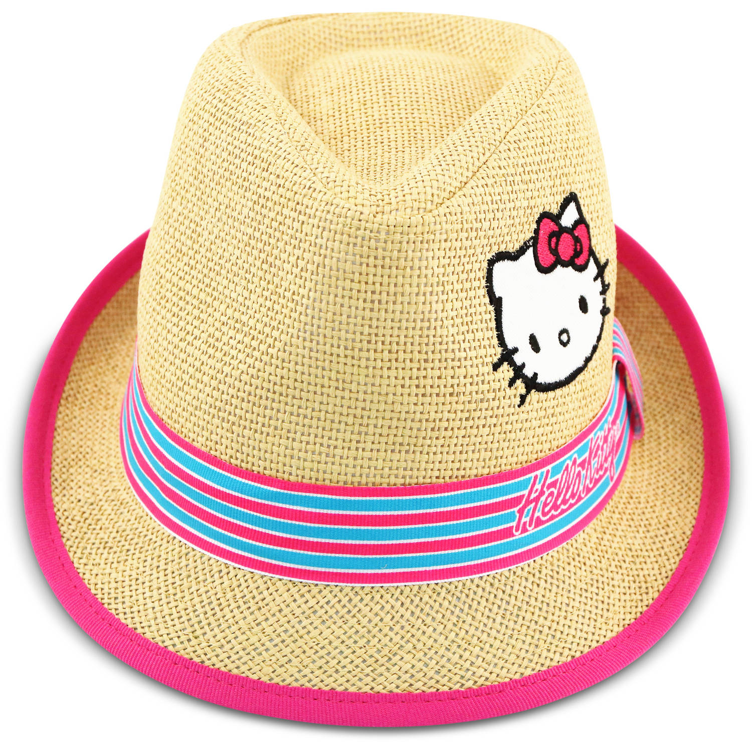 Sanrio Hello Kitty natural straw fedora with chevron pink and blue band.