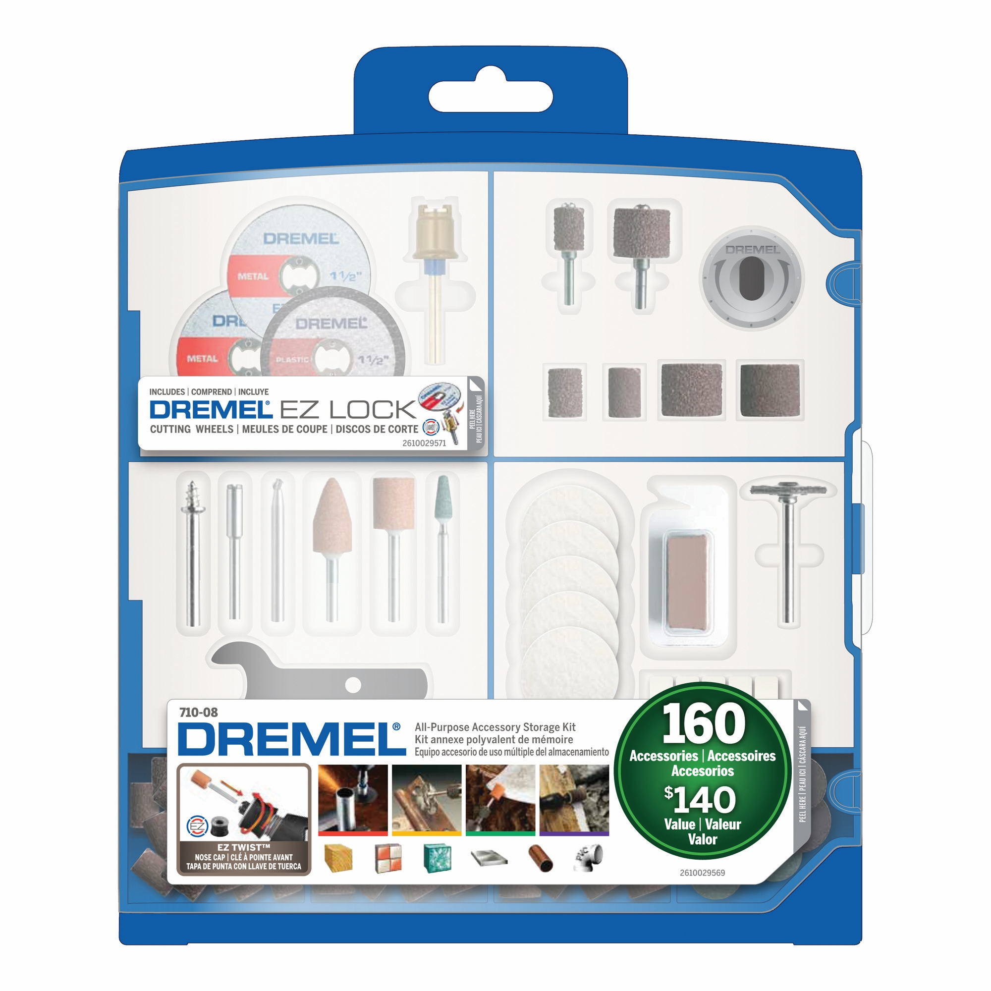 Dremel 710-08 Rotary Tool Accessory Kit with Plastic Storage Case 160-Piece