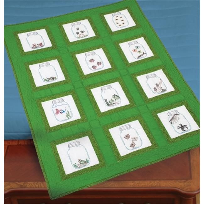 Themed Stamped White Quilt Blocks 9 in. x 9 in. 12-Pkg-Creatures In Jars