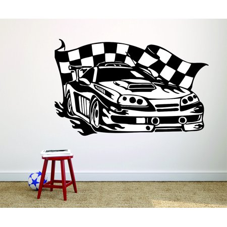 Boy Family Car Decal (Custom Wall Decal : Race Car Flag Boys Bedroom)
