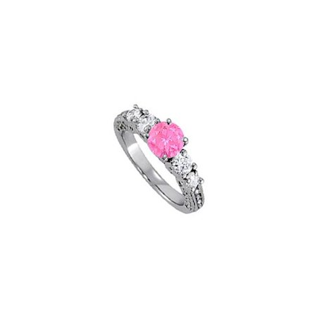 UBUNR83557W14CZPS September Birthstone Pink Sapphire & CZ Pretty Five Stones Engagement Ring in 14K White Gold, 4 Stones