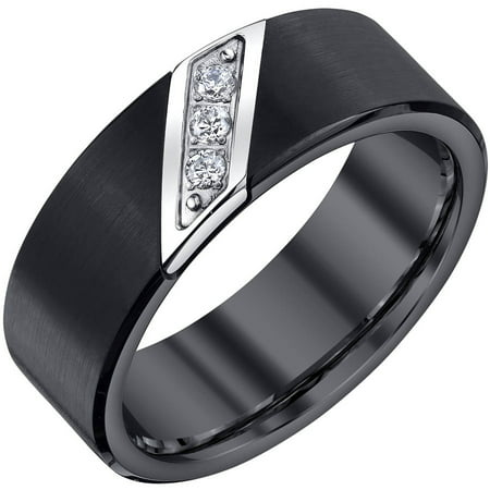 - Men's 0.10 Carat T.W. Diamond Black Tungsten Band