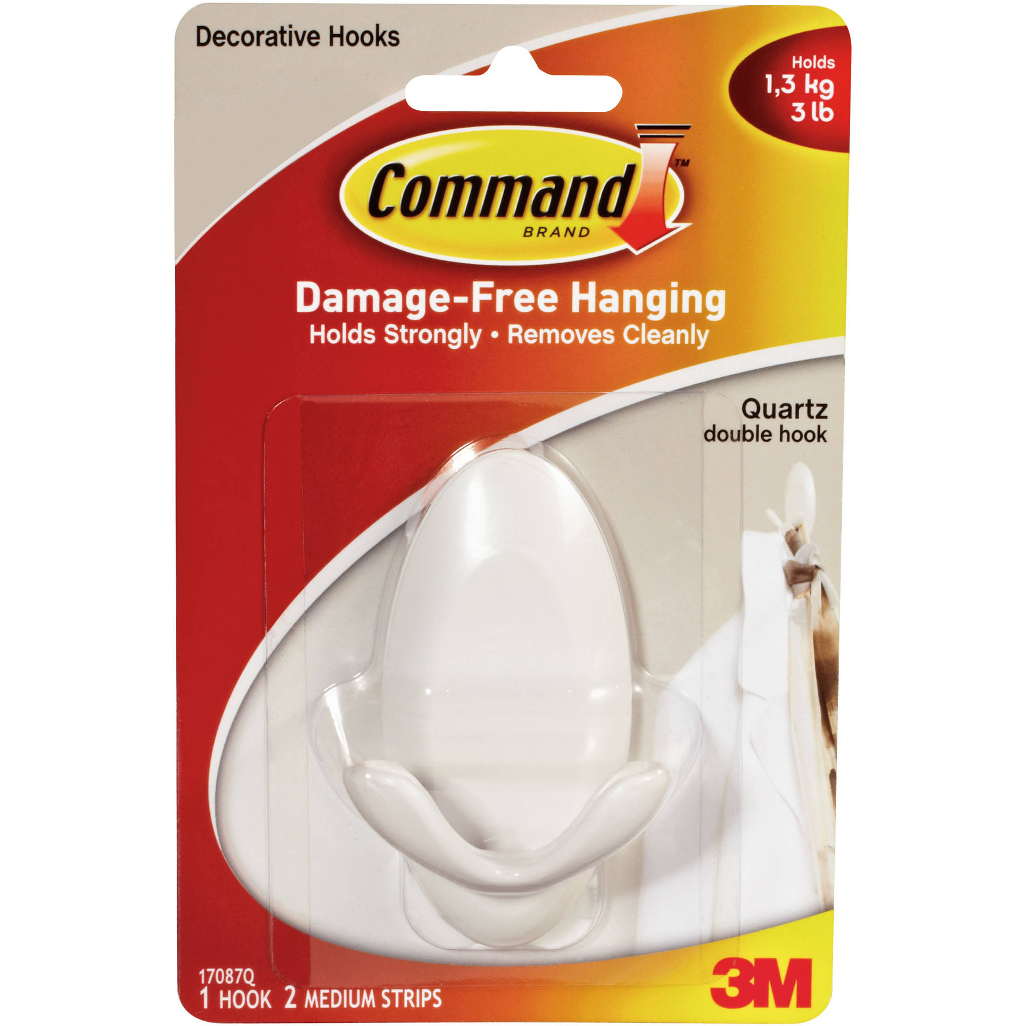 Command Quartz Double Hook, 1 Hook, 2 Strips, 17087Q