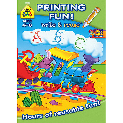 Write and Reuse Workbook, Printing Fun, Ages 4-6